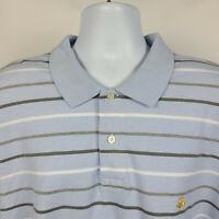 Brooks Brothers 346 Original Fit Blue Striped Mens Adult Polo Shirt Size 2XL XXL