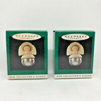 """Hallmark 1995 """"CHRISTMAS BELLS""""  Lot of 2 Angel Miniature Keepsake Ornament NIB"""