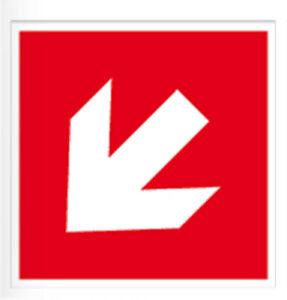 Brandschutz Brandschutzzeiche Richtungsangabe diagonal Aufkleber MATT Permanent