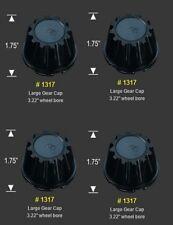 """4 CAP DEAL 1317 GEAR FITS 3.22"""" DIA BORE FRONT SNAP WHEEL RIM BLACK CENTER CAPS"""