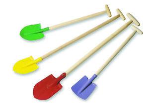 Metal Garden Spade Shovel Rake Colourful Wooden Handle Summer Outdoor Heavy Duty