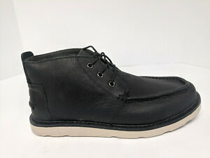 Toms Chukka Boots, Black Leather, Mens 10.5 M