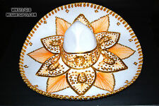 "Authentic Mexican Mariachi-Sombrero Charro Hat True Adult 23"" White/Gold"
