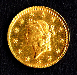 """USA Gold 1 Dollar Coin * 1.56 g """"Liberty Head"""" Type 1 * 1853 * Great condition!"""