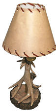 """Wilcor - Rustic Single Antler Lamp With Deer Shade, 18"""" Tall"""