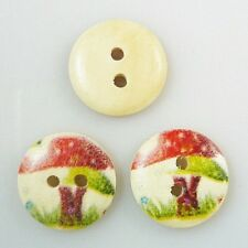 Lot of 10 MUSHROOMS 2-hole Wood Buttons 5/8