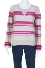 10 Crosby Derek Lam Womens Stripe Crewneck Sweater Beige Pink Size Medium LL19LL
