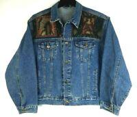 Denim Blue Jean Jacket Indian Chief BOHO Eagle Tapestry Design Women's Sz Large