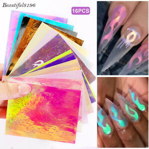 16 Pcs Fire Nail Holographic Flame Stickers Hollow Nails Art Decal Manicure Tip