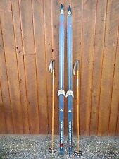 """Vintage Wooden 79"""" Long Skis Blue and White Finish + Bamboo Poles"""
