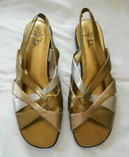 Life stride sandal women 11 gold & silver slingback wedge heel