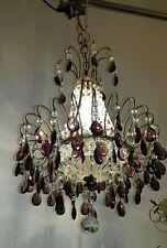 Bellissimo lampadario antico ferro cristalli viola Old Chandelier murano lustre