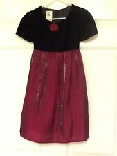 My Michelle girl's dress size 5 black crandberry velour top poly-rayon blend 117