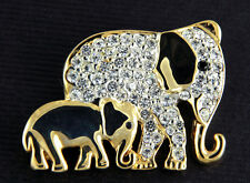 BRAND NEW TWO ELEPHANTS CLEAR GENUINE CRYSTALS WITH GOLD PLATED PIN BROOCH