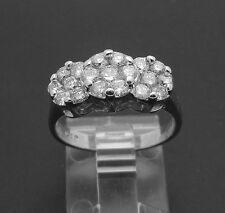 Cluster F/VS Diamond 1.0ctw 3 Flower Anniversary 14k White Gold Ring Size 7