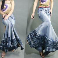 retro Summer Retro Long Denim Ultra Skirts Womens Maxi Jeans Fishtail Gown Dress