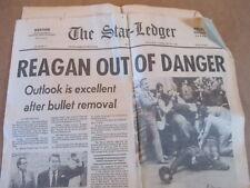 RONALD REAGAN OUT OF DANGER AFTER BEING SHOT STAR-LEDGER NEWSPAPER 3/31 1981