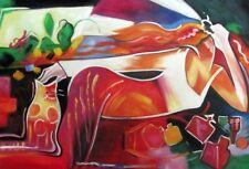 Gatto accanto a una donna. quadro - Dipinto a olio telaio in legno