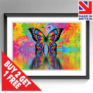 Colourful Butterfly Art Framed & Unframed Print Poster Wall Art A3 A4 A5 Sizes