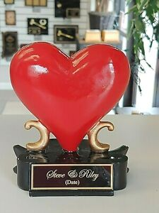 "CAKE TOPPER WEDDING OR ANNIVERSARY RESIN HEART 5"" TALL FREE ENGRAVING M-RF1354"
