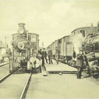 Antique printed postcard Hell Station Norway railway trains people
