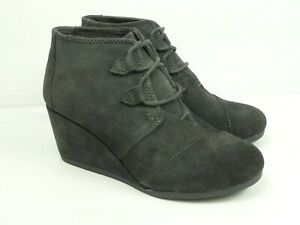 TOMS Women's Kala Iron Grey Suede Ankle Wedge Boots Size 7.5