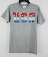 Hybrid Men's Graphic Print USA T-Shirt Grey