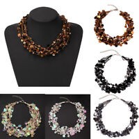 Women Sequins Multilayer Choker Chunky Statement Pendant Necklace Bib Chain Gift