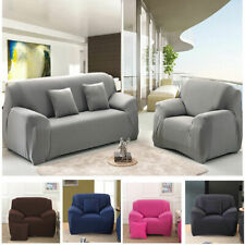Solid Stretch Chair Sofa Cover 1/2/3/4 Seater Couch Elastic Slipcover Protector