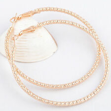 """New 14K Yellow Gold Filled Sparkly Rib Textured Large 2.25"""" Round Hoop Earrings"""