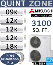 21 SEER Ductless Mini Split Air Conditioner Heat Pump, 9000 + 12000 x3 + 18000