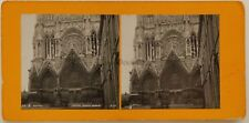 Reims Portail Grand Angle France Photo Stereo Argentique c1900
