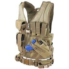 Condor M/L Military Cross Draw Tactical Chest Rig Vest w/ Holster Pouch TAN