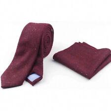 New Burgundy Skinny Wool Tie & Pocket Square Set. Great Reviews. UK.