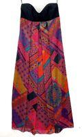 Forever New Women's Size 12 Multicoloured Strapless Boho Maxi Dress