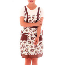 Vintage Style Country Roses Micro Peach Pockets Pinafore Apron Lined Coffee