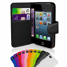 Black Leather Executive Wallet Flip Case Cover Card Pouch for Apple iPhone 5 5S
