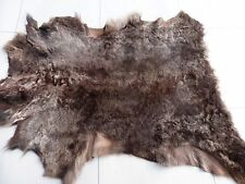 sheepskin shearling leather hide Mottled Maroon Brown w/Tan suede back