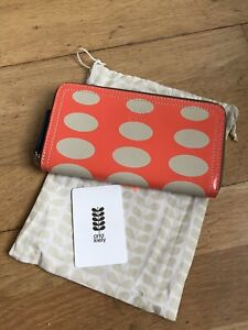 Orla Kiely Oval Print Leather Big Zip Wallet