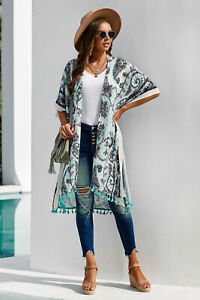 Aqua Navy Boho Print Tasseled Hemline Kimono Poly Crepe Cover Up Top O/S 6-12