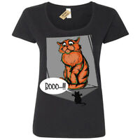 Boo Scaredy Cat funny T-Shirt Womens Ladies Scoop