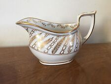 Antique 19th c. English New Hall Porcelain Creamer Cream Jug Pitcher White Gold