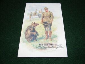 POSTCARD ART DRUMMOND PRINCESS PAT'S CANADIAN CONTINGENT REGT BEAR MASCOT TUCK