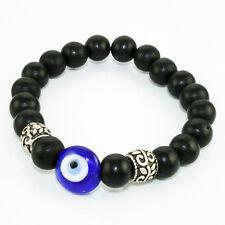 Glass Evil Eye with Black Wood Beaded Handmade Bracelet
