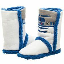 Star Wars  Women's White Blue R2D2 Boot Slippers Size-8/9