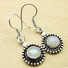 Moonstone Nouveau Silver Plated Jewelry New 3.5 Cm Earrings ! Beautiful Rainbow