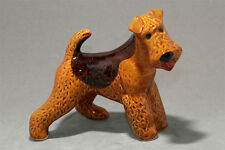 Airedale / Welsh Terrier ceramic dog figurine. Great gift for dog lovers.