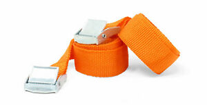 2m Luggage Straps/Tie Downs with Metal Cam Buckle, Orange (Pk2)