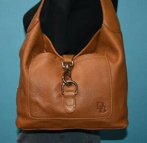 "DOONEY & BOURKE ""ANNALISA"" Lock Sac Brown Leather Hobo Slouch Shoulder Bag Purse"