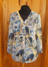 GRAY & OSBOURN blue yellow brown floral chiffon longsleeve blouse shirt top 20